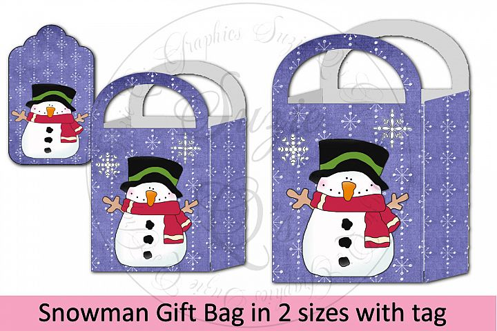 Snowman Gift Bag in two sizes with tags