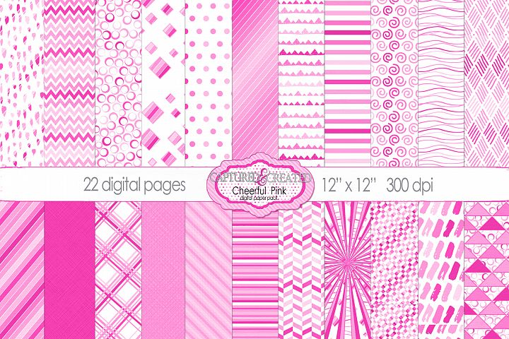 22 Cheerful Pink Patterned Papers- JPG