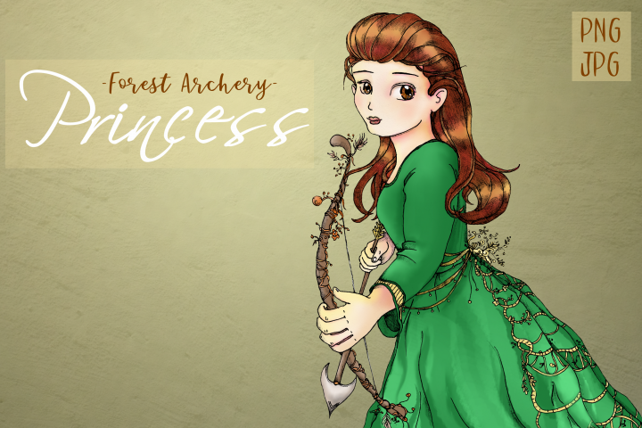 Whimsical Forest Archery Princess | Fantasy Clip Art
