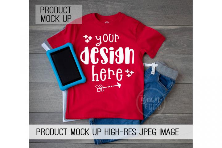 Kids Red Shirt Mock up Product Mock Up