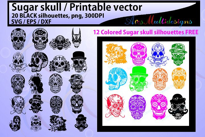 sugar skull silhouette / 20 sugar skull / sugar skull SVG