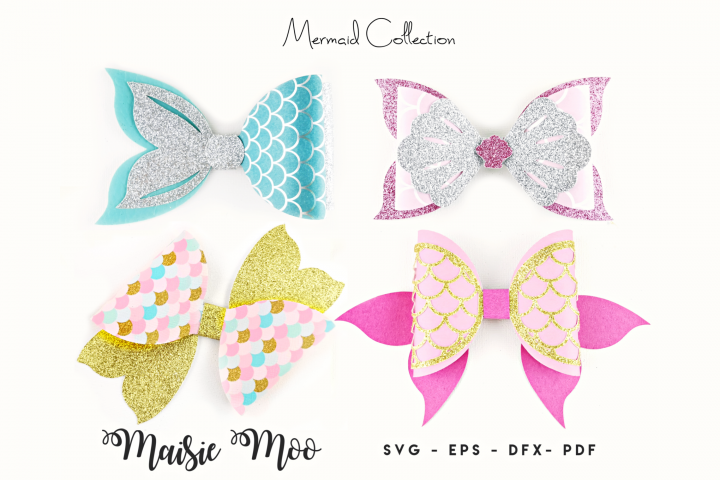 Mermaid Bow SVG Collection, Mermaid Tail Bow Template SVG