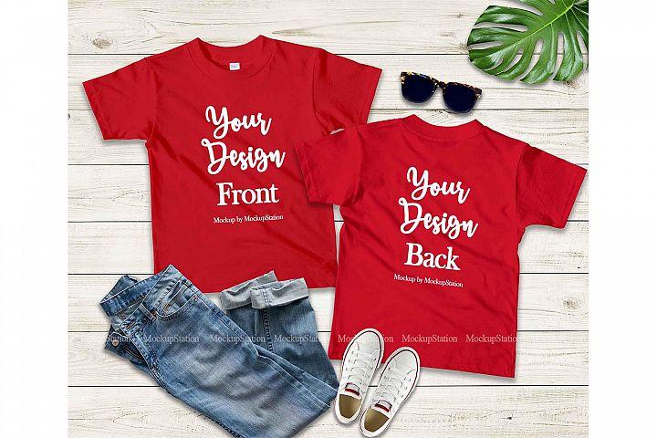 Kids Front & Back Red Tshirt Mockup, Teen Shirt Mock Up