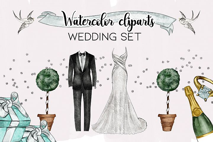 Watercolor Wedding Png set