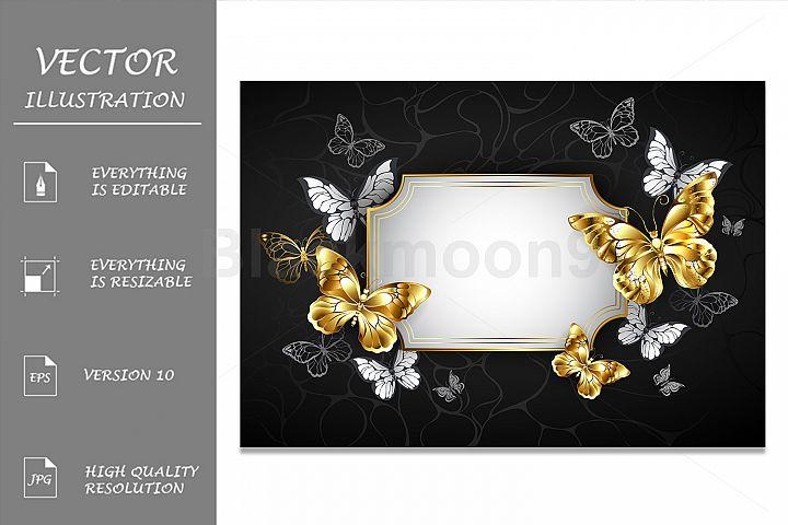 Straight Banner with Golden Butterflies