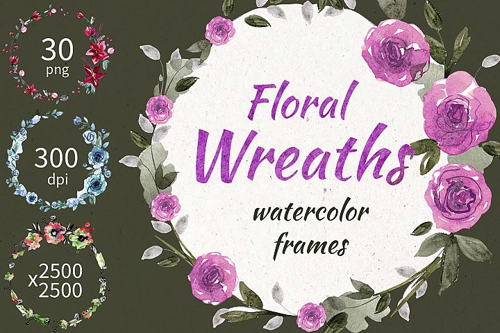 30 Watercolor Floral Wreaths