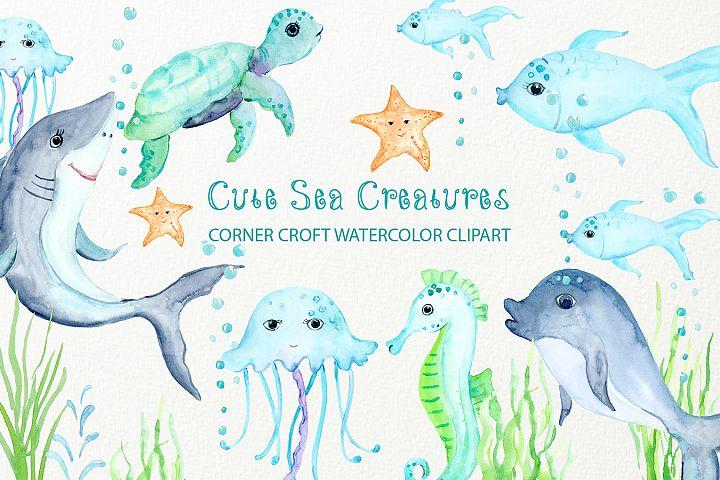 Watercolor Clipart Cute Sea Creatures