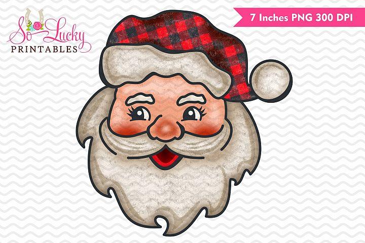 Vintage Santa face Christmas printable sublimation design