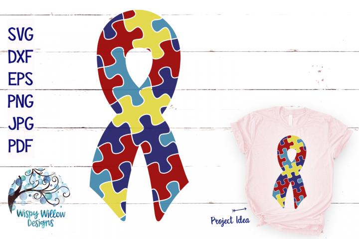 Autism Puzzle Piece Ribbon SVG   Autism SVG
