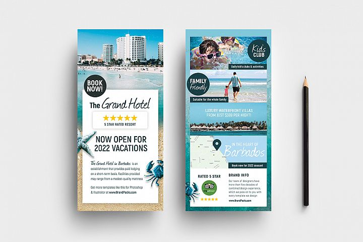 Travel Hotel Rack Card Template
