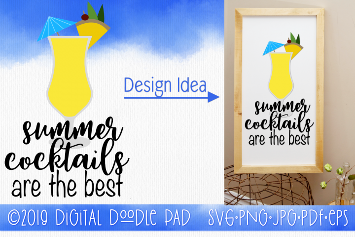 Cocktails | Summer SVG Cut File for Silhouette & Cricut