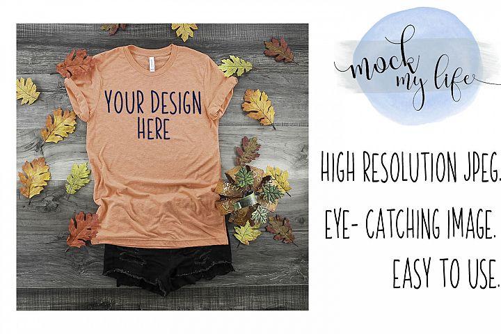 Mockup Bella Canvas Shirt / Fall Flat Lay / Orange Shirt