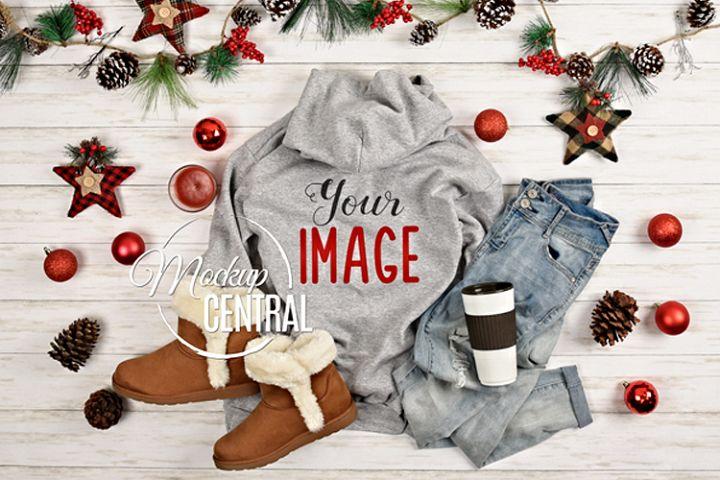 Christmas Gray Hoodie Sweatshirt Mockup Back, Grey Mock Up