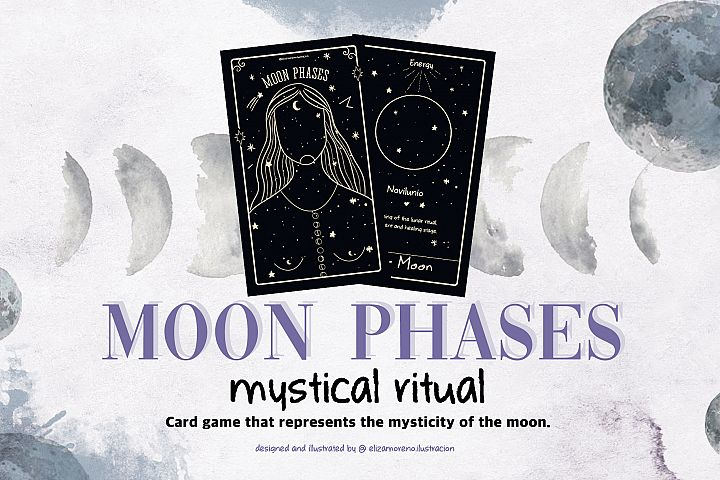 Moon phases mystical ritual cards