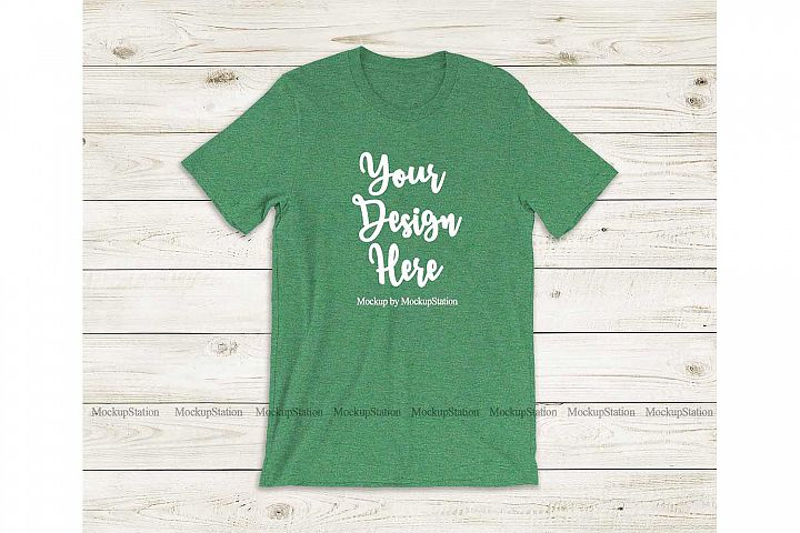 Bella Canvas 3001 Heather Grass Green Tshirt Mockup Flat Lay