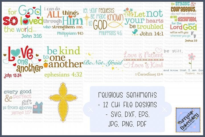 Religious Sentiments - SVG, Cut Files, Clipart, Printables