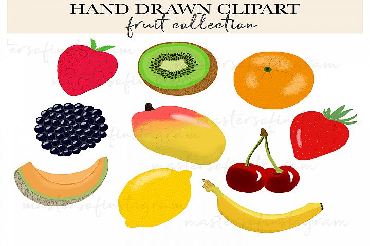 Hand drawn fruit clipart icons illustrations