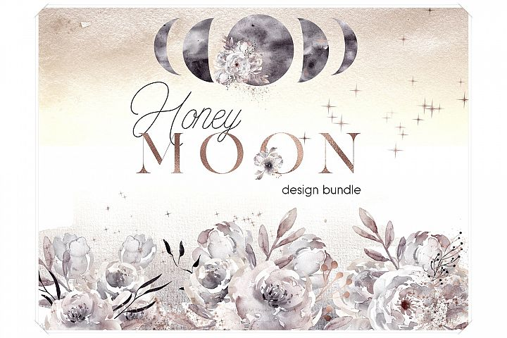 Watercolor Moon Phases Design Bundle