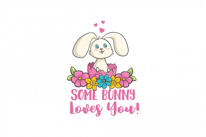 Some bunny loves you. Cute rabbit and typography vector