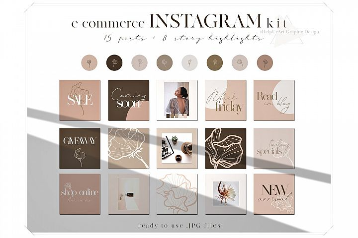 Blush Pink Instagram Posts Pack - eCommerce Instagram Layout