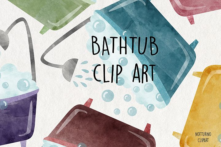 Watercolor Bathtub Clipart PNG