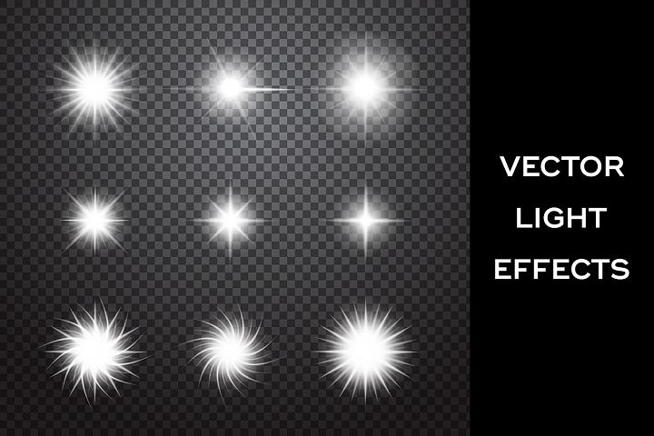 Sparkles. Vector light effects set