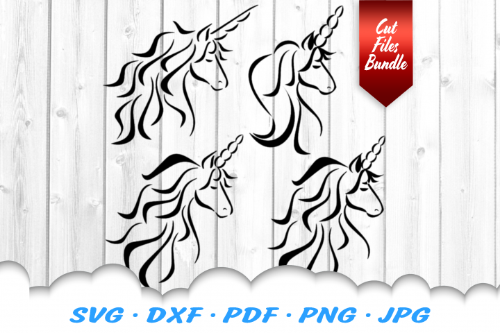Tribal Unicorn Head SVG DXF Cut Files Bundle