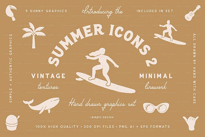 Summer Icons 2 Hand Drawn Graphics Set