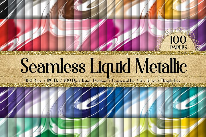 100 Seamless Liquid Foil Metallic Fluid Digital Papers