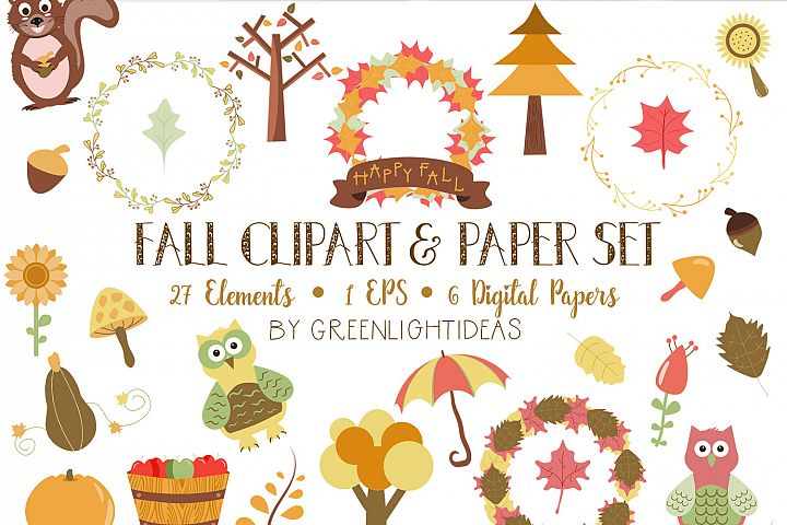 Fall Clipart Set and Digital Papers