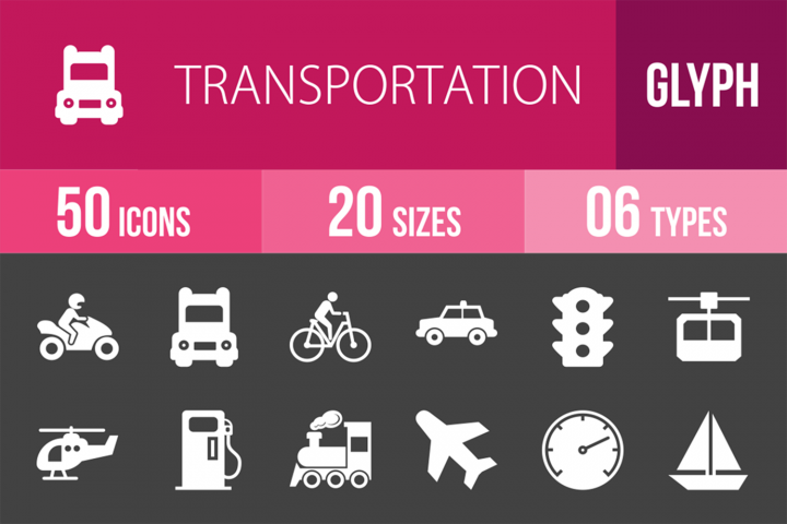 50 Transportation Glyph Inverted Icons