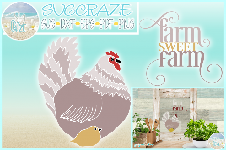 Hen and Chick Farm Sweet Farm House Quote SVG Dxf Eps Png Pd
