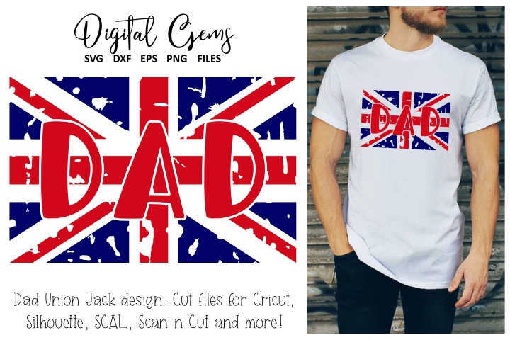 Union Jack distressed flag, Dad SVG / EPS / DXF / PNG Files
