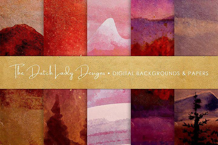 Winter Landscape Artwork Papers in Pink Tones