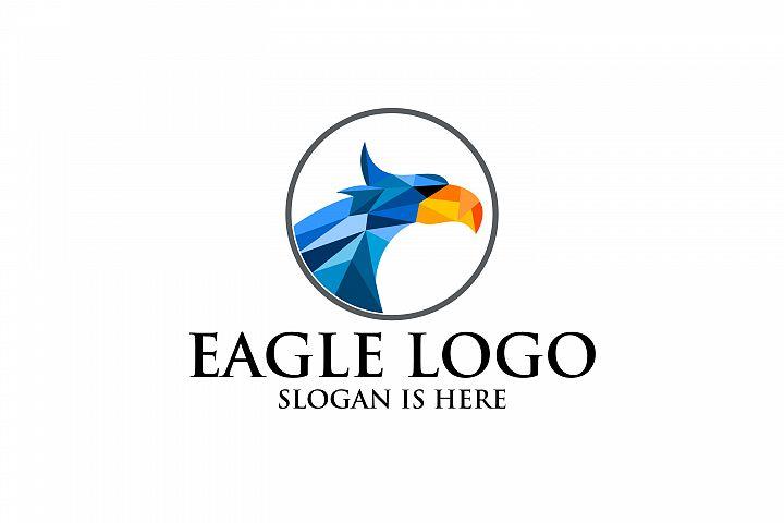 Circle Eagle colorful Hawk Head with Sharp Eye logo design