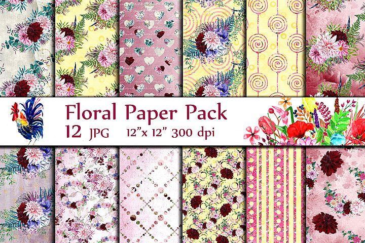 Watercolor floral digital papers