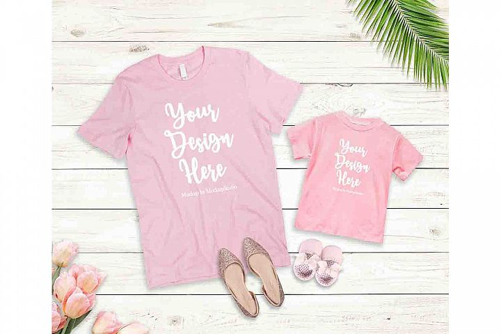 Mother Daughter Pink T-Shirts Mockup Bella Canvas 3001 3001T