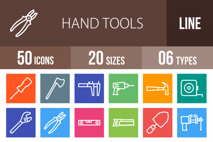 50 Hand Tools Line Multicolor B/G Icons