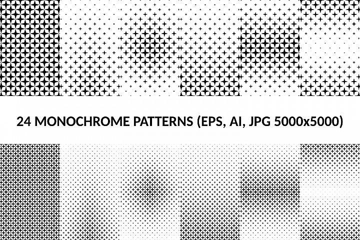 24 Star Patterns AI, EPS, JPG 5000x5000