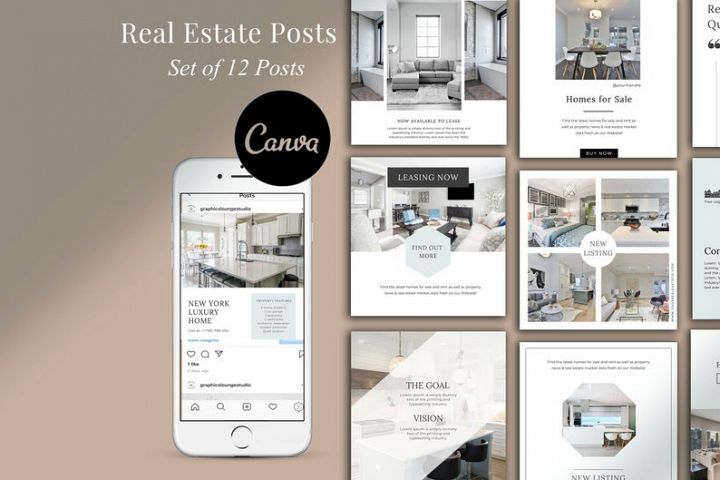 Real Estate Instagram, 12 Posts, Canva