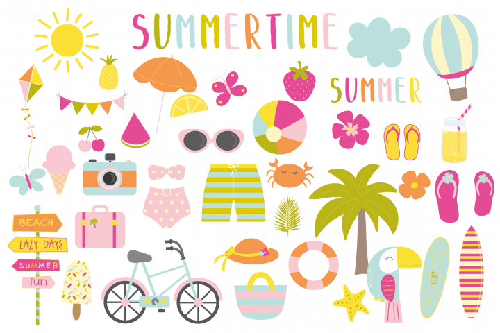 Summertime set, clipart and papers