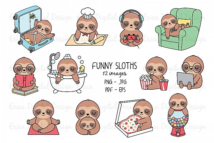 Sleeping Sloths clipart set - 12 Funny sloth images - Bundle