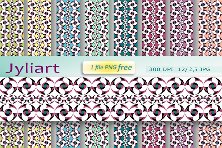 Border Patterns Clipart, Decorative bands, Flower of luck