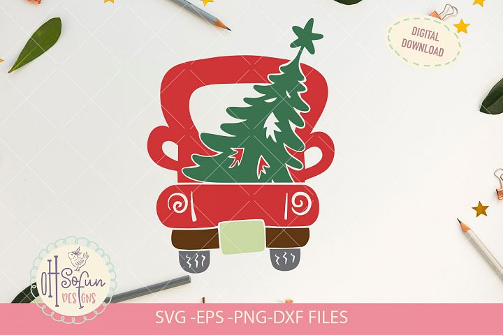 Red christmas truck, Christmas truck svg