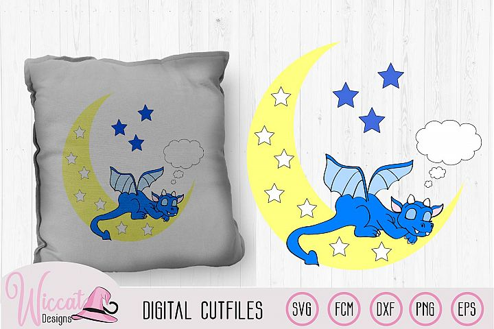 Sleeping dragon on the moon svg, nursery svg cut file