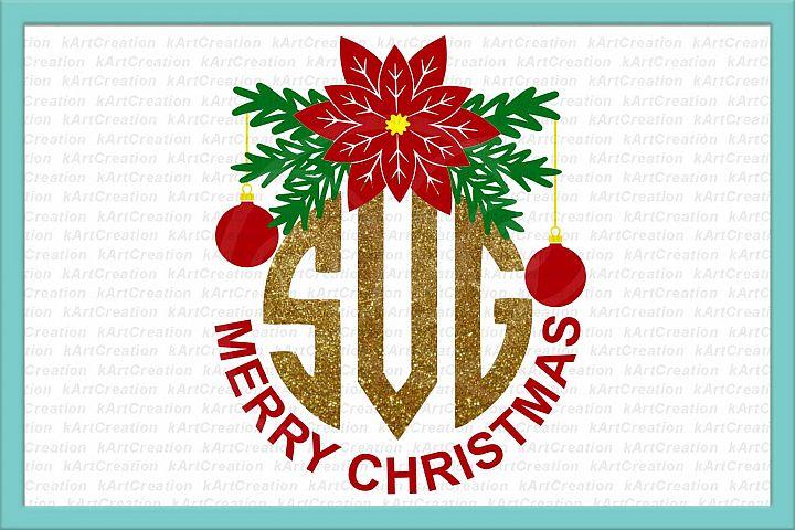 Christmas monogram svg, Merry Christmas circle monogram svg