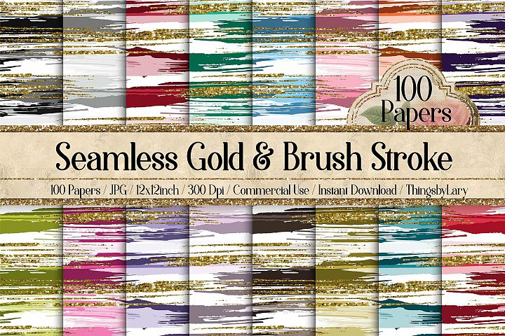 100 Seamless Gold Glitter and Brush Stroke Digital Papers