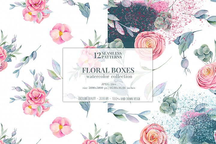 12 seamless patterns, Floral boxes watercolor col. example image 5