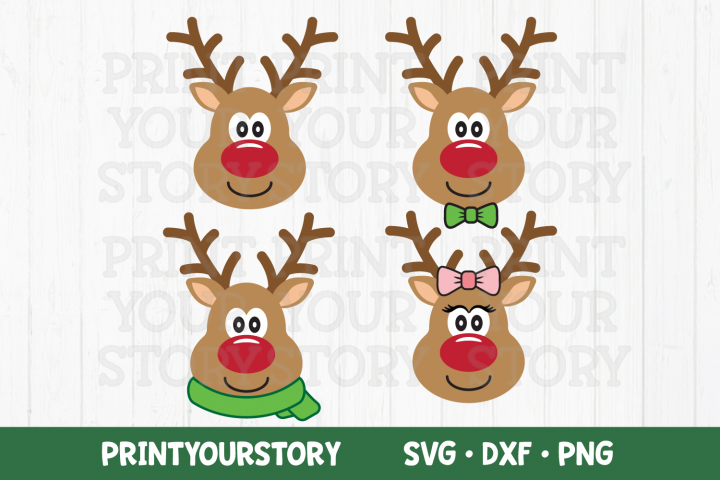 Reindeer SVG Clipart Set - SVG DXF PNG files - Christmas SVG