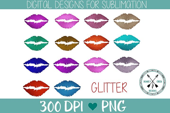 Glitter Lips Sublimation PNG Bundle